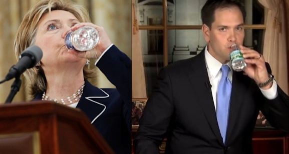 Speakers Drinking Water From Stage-Hillary & Rubio (577x308)